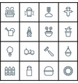 set of 16 agriculture icons includes rake jug vector image