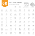 Set of Thin Line SEO and Development icons vector image