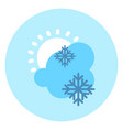 weather icon cloud sun snow forecast vector image