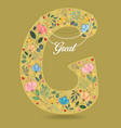 Yellow letter g with floral decor and necklace vector image