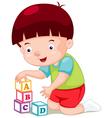 Little boy playing blocks vector image