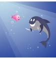 hungry shark and little pink fish vector image