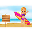 A lady surfer at the beach near the empty vector image vector image