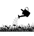 Watering pot and meadow vector image