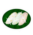 Thai Mung Bean Rice-Crepe on Banana Leaf Container vector image