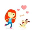 Girl Play Catch The Bone with Her Dog vector image