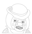 Clown angry outline vector image vector image