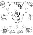 BEauty element eid mubarak doodle vector image