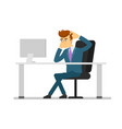 businessman entrepreneur working on computer vector image