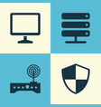 computer icons set collection of router defense vector image