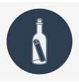 Flat style icon with sea or bottle mail vector image