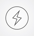 lightning outline symbol dark on white background vector image