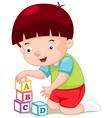 Little boy playing blocks vector image