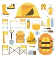 Camping equipment icon set vector image
