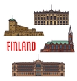 Historic buildings and architecture of Finland vector image