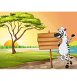 Scene with zebra and wooden sign vector image vector image