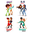 cartoon of a couples dancing tango rumba vector image