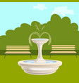 Fountain with benches in the park vector image