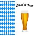 Symbols Oktoberfest beer and Bavarian flag vector image