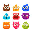 Colourful Jelly Characters with Emotions vector image