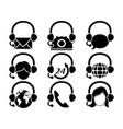 headset hotline icon set vector image