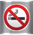 No smoking symbol on a chromium background vector image