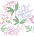 Seamless pattern with peonies and leaves vector image