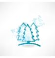 Three fir-tree grunge icon vector image