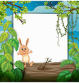A rabbit on a trunk vector image vector image