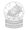 zentangle snow globe with sledge Christmas tree vector image
