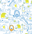 seamless animal pattern soft color vector image