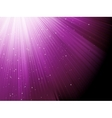 Snow and stars falling on purple rays EPS 8 vector image