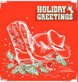 merry christmas and New Year red card with cowboy vector image vector image