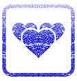valentine hearts framed textured icon vector image
