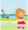 a family having a picnic in a park vector image