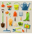 Set of garden sticker design elements and icons vector image