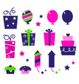 birthday party icons isolated on white vector image vector image