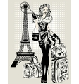 Black and white of Fashion woman near vector image