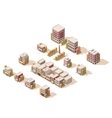 isometric buildings set vector image vector image