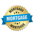 mortgage 3d gold badge with blue ribbon vector image