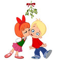 kids kissing under mistletoe vector image