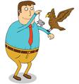 Man feeding eagle vector image