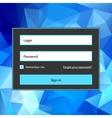 Polygonal blue login form vector image