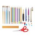 Set include pens ana pencils vector image