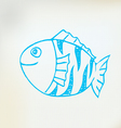 Sketch line drawing fish vector image