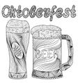 Oktoberfest set of beer Hand drawn vector image
