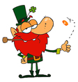 Leprechaun Smoking A Pipe And Flipping A Gold Coin vector image vector image