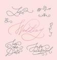 wedding calligraphic letterings set vector image