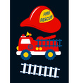 Fire Rescue with red helmet and truck vector image