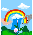Robot and human hands with a rainbow vector image